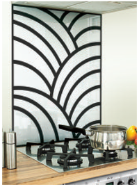 Rays Image Kitchen White / Black Glass Splashback