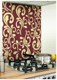Victoriana Image Kitchen Burgundy Glass Splashback