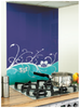 Floral Image Kitchen Blue / Purple Glass Splashback