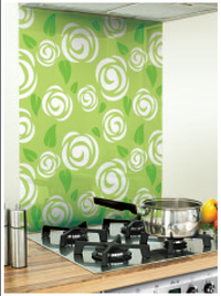 Rosebud Image Kitchen Green Glass Splashback