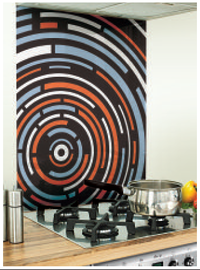 Circles Image Printed Black Glass Splashback