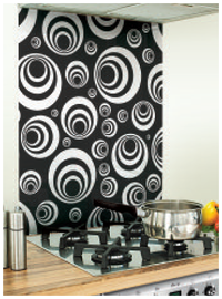 Image Printed Black Glass Splashback