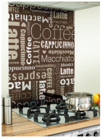 Coffee Lover Image Kitchen Brown Glass Splashback