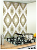 Retro Image Kitchen White Patterned Glass Splashback