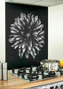 Flower Image black kitchen glass splashback