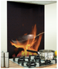 Flame printed Image Kitchen Black glass Splashback