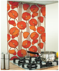 Red Flower Image Kitchen White Glass Splashback
