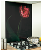 Flower Image black glass splashback