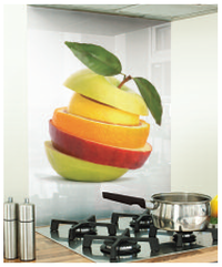 Apple printed image white glass splashback