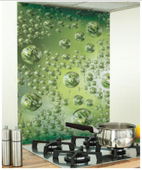 Bubble Image Kitchen Green glass Splashback
