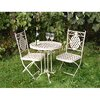 Beau 60cm Cream Metal Bistro table and 2 Chairs Garden Set