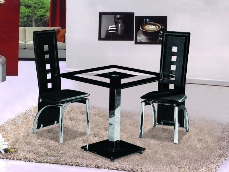 Small square black glass dining table with 2 chairs for Black kitchen table set