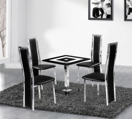 Holly Square Black Glass Dining Table and 4 Chairs Set
