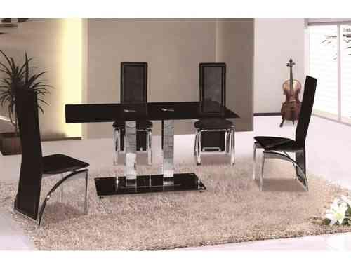 Black glass dining table and 4 chairs set