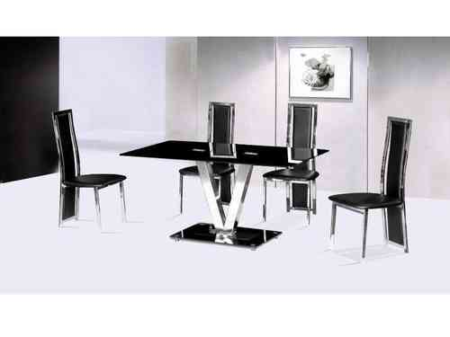 Black glass V 120cm Glass Table and 4 chairs seater set