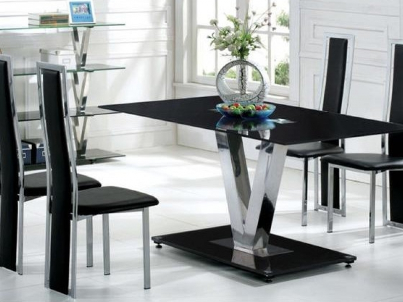 ... Black Glass Dining Table And 6 Black Chairs Set