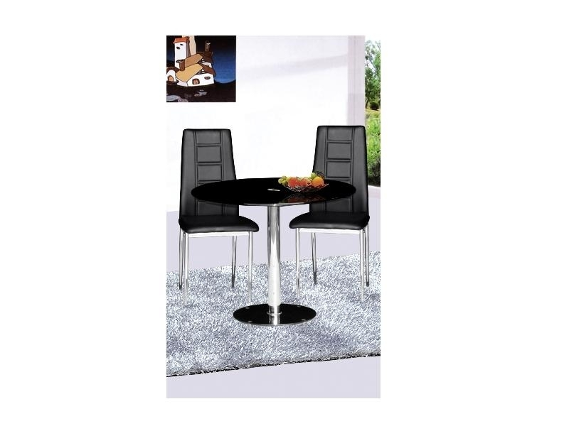 Small Round Glass Dining Table And 2 Chairs: Parma Black Glass Round Dining Table And 2 Chairs