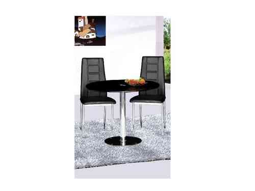 Parma Black Glass Round Dining Table and 2 Chairs Set