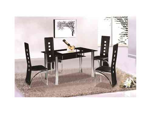 Christie Black Glass Dining Table and 4 Chairs set