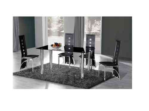 Crystal black Glass Dining Table with 6 Chairs set