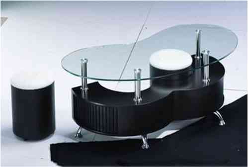 M shaped black high gloss glass coffee table 2 Stools