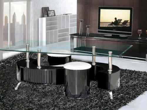 S Shaped black high gloss glass coffee table 2 stools