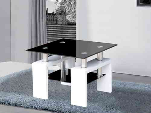 Metro white and black high gloss glass side table