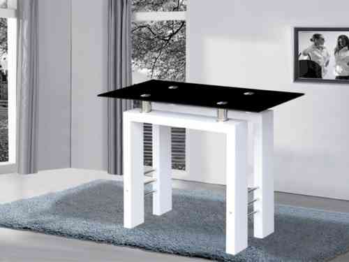 Metro white high gloss black glass console table