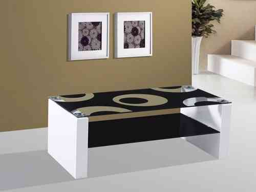 Rome white high gloss black glass coffee table