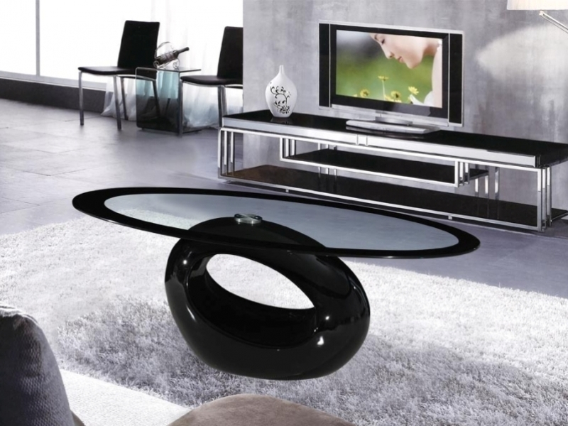cairo oval black high gloss clear glass coffee table - homegenies