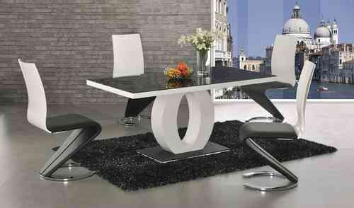 Black glass, white high gloss dining table & 6 chairs
