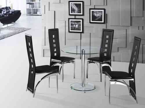 Round Glass Dining Table and 4 Chairs in Black and Clear Sets