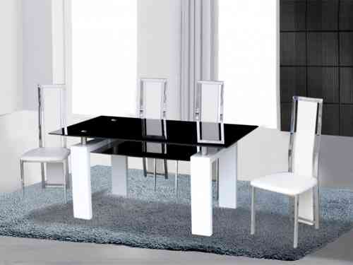 Black/white high gloss glass dining table & 4 chairs