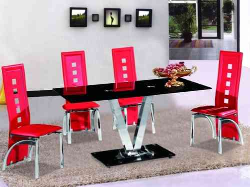 Black Glass Dining Table and 4 Red Dining Chairs Sets