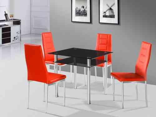Como square black glass dining table and 4 red chairs