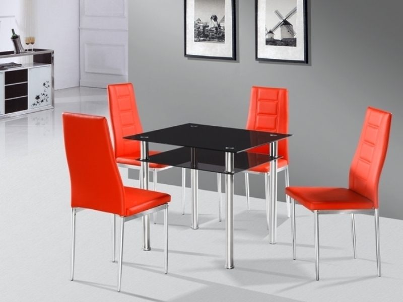 Como Square Black Glass Dining Table And 4 Red Chairs Homegenies