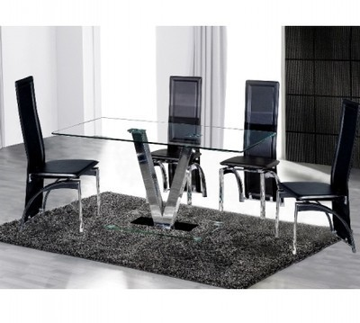 V Dining Table and 4 Black Chairs in Clear Glass set