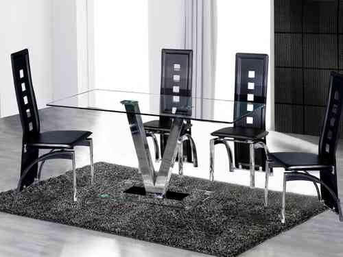 Dining Table and 6 Black Chairs in Clear Glass set