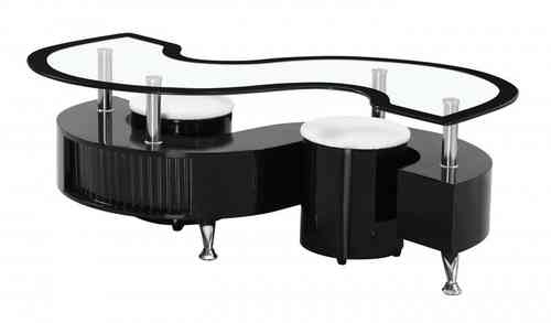 Black high gloss S shape clear glass coffee table