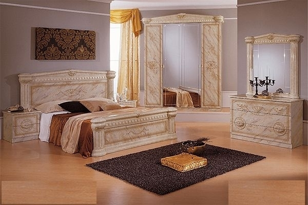 Italian High Gloss Marble Bedroom Furniture Set Homegenies