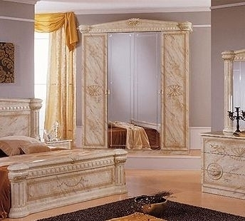 Italian High Gloss Marble Bedroom Furniture Set Homegenies