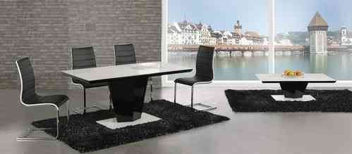 High gloss glass dining table & 4 chairs black / white