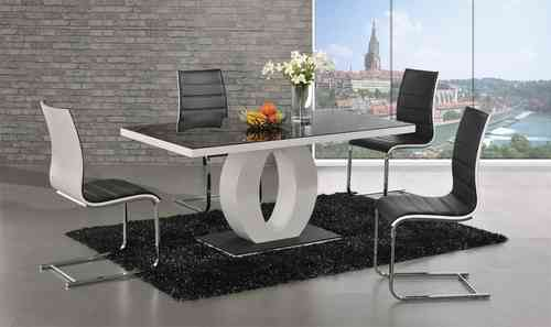 Polo glass white high gloss dining table 6 Chairs set