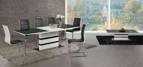 Black glass white high gloss extending dining table and 8 chairs set