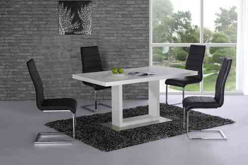 High gloss dining table and 6 chairs white with black