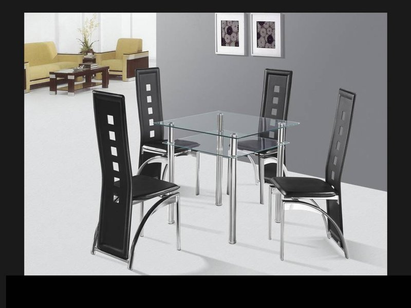 Square Glass Top Dining Table And Chairs 5pc Homegenies