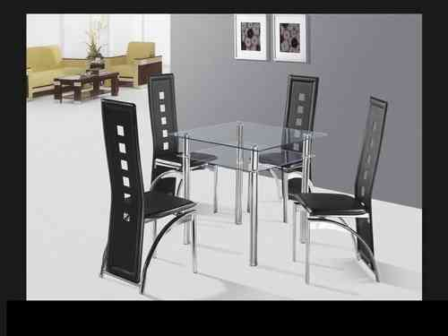 Square Glass Top Dining Table and 4 Chairs 5pc