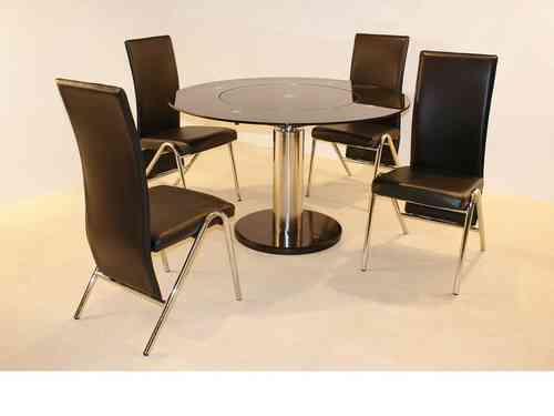 Black round glass dining table and 4 chairs set