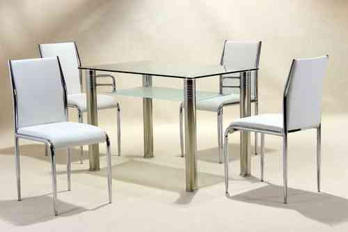 Clear glass dining table and 4 faux chairs in cream