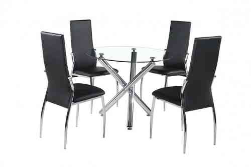 Glass / chrome round dining table and 4 chairs